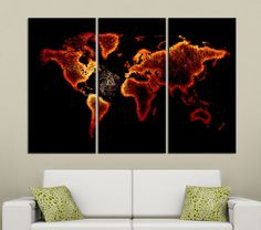 Fire Red Color Canvas Print 3 Panel WORLD MAP - 3 Piece Atlas Canvas Art Print - Ready to Hang - Vintage World Map  #prints #printable #painting #canvas #empireprints #teepeat