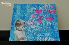 9 Activite enfant realiser cadre toile personnalise avec photo enfant envolee de coeurs bisous cadeau maitresse papa maman mamie pour fete peinture papier bulles (3)