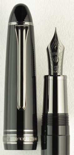 Sailor 1911 Black Luster. The new Sailor 1911 Black Luster fountain pen adds sleek modern style to the flagship 1911 Full-Size Series. Notice the specially weighted metallic gripping section, which complements the monochromatic, streamlined look and also adds to the balance for those who prefer a pen with a weightier gripping section. The 21k solid gold black ion plated nib, along with the black ion plated trim, harken back to Sailor's Pro Gear Imperial Black fountain pen.