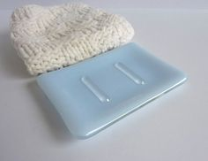 Soap Dish in Chalky Blue Fused Glass