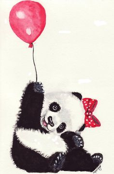 Happy Panda with Red Balloon Print of Original by OzarksArtStudio, $2.50