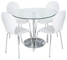 Clear Glass Dining Table with 4 White Wooden Dining Chairs Dimensions:  D: 950mm H: 730mm 4 x Bentwood Chairs in a light wood effect finish with chrome legs Width: 42 Depth: 49 Height: 90.5
