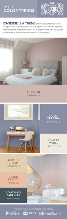 PPG 2017 Color Trend story ES/SENSE is a theme about purity and simplicity in design as well as purifying and simplifying one's life. Blended peaches, creamy yellows and subdued pinks offer opportunities for a soft, subtle atmosphere grounded with the deepest of blue-greens.