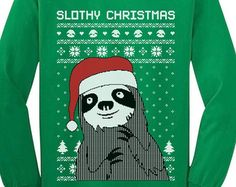 Slothy Xmas - Ugly Christmas Sweater Youth Long Sleeve T-Shirt