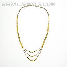 Regal Jewels Online - 22KT Gold Enamel Black Bead Three Line Long Mangal Sutra