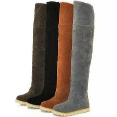 Fashion Womens Faux Suede Over the Knee Flat Heel Warm Long Boots Shoes Plus Sz Slip On Boots, Shoe Boots, Thigh High Boots, Over The Knee Boots, Casual Winter Boots, Girls Flats, Long Boots, Boots For Sale, Platform Boots