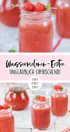 Watermelon Iced Drinks / Iced Tea / Watermelon Iced Tea / Beverage for . - Watermelon Iced Tea Drinks / Iced Tea / Watermelon Iced Tea / Summer Drink / Summer Drinks This ima - Party Drinks, Wine Drinks, Cocktail Drinks, Tea Drinks, Smoothie Drinks, Smoothie Recipes, Smoothies, Pina Colada, Drink Summer
