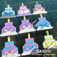 Birthday cake party favor goody bag perler bead designs. Turn them into cute magnets and they make great little gifts which are easy to make in bulk.