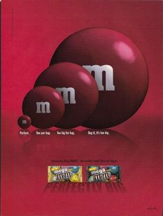 2006 Introducing MEGA M&M's 1 page ad You Wouldn't Want Them Any Bigger. #111413