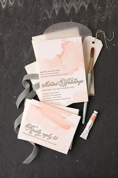 diy watercolored letterpress invites
