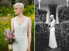 bridal headpiece for short pixie hair; also, love the dress