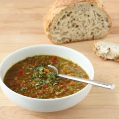 A healthy, hearty, vegetarian soup you can make ahead. What's not to like? --> Fragrant Red Lentil and Tomato Soup