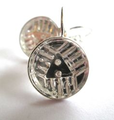 Antique button earrings. Clear glass 2-hole buttons, silver leverbacks
