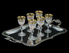 Josephinenhütte Ernestine - 6 x (Satz) Kristall Sherryglas 13 cm - Top Qualität