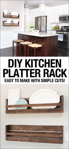 Easy DIY platter rack with very simple cuts. LOVE this!!