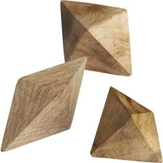 CB2 Set Of 3 Wood Shapes ($20) ❤ liked on Polyvore featuring home, home decor, fillers, decor, sculpture, geometric home decor, geometric wood sculpture, geometric sculpture, wooden sculptures and wood home decor