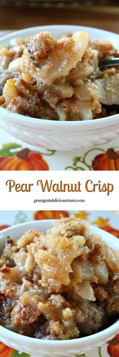 Pear Walnut Crisp - Deliciously flavored with a sweet, buttery crunch topping. (Bake Apples And Pears) Pear Dessert Recipes, Pear Recipes, Fall Desserts, Fruit Recipes, Just Desserts, Fall Recipes, Sweet Recipes, Delicious Desserts, Cooking Recipes