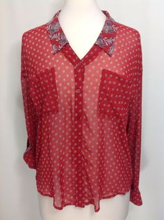 Free People S Red Floral Polyester Long Tab Sleeves Button Down Shirt EUC  #FreePeople #ButtonDownShirt