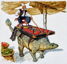 Schoty and his Ankylosaurus pal Soroban help merchants with their arithmetic using a giant abacus mounted on Soroban's back. Character Concept, Concept Art, Character Design, Fantasy Kunst, Fantasy Art, Peter Pan Art, Dinosaur Art, Prehistoric Creatures, Sea Monsters