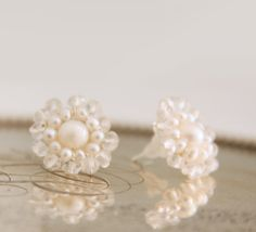 Wedding Freshwater Pearl and Crystal Stud