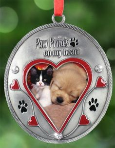 $12.99  + $1.99 shipping  - Paw Prints on My Heart Photo Ornament~perfect gift for dog owners, cat owners, loss of pet Banberry Designs http://www.amazon.com/dp/B00GXJCZ0K/ref=cm_sw_r_pi_dp_tCVvub0BTNJ80