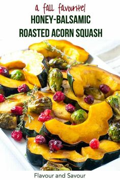 Honey balsamic roasted acorn squash with Brussels sprouts and fresh cranberries makes a tasty, colourful paleo side dish for any fall or winter dinner. Takes less than 30 min. Great for holiday meals! Sprout Recipes, Veg Recipes, Fall Recipes, Holiday Recipes, Whole Food Recipes, Vegetarian Recipes, Sweets Recipes, Christmas Recipes, Christmas Eve