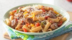 Sausage with Peppers and Pasta-tonight's dinner with chicken sausage instead of the regular pork sausage.