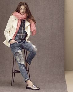 d34b0a4b8f1a Ripped jeans + a tucked in checkered shirt with a stylish cream coat is a  great