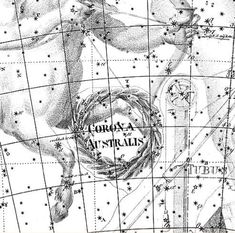 Corona Australis, at the forefeet of Sagittarius, in the Uranographia of Johann Bode (1801).