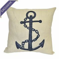 """Bring a pop of nautical-chic style to your sofa or favorite reading nook with this burlap pillow, showcasing an anchor motif.    Product: PillowConstruction Material: Burlap coverColor: Natural and navyFeatures:  Knife edgeInsert included Dimensions: 20"""" x 20""""Cleaning and Care: Dry clean only"""