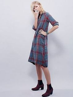The soft blue with red plaid makes this dress perfection. Ever feel like not taking off your PJs? That's what this dress will feel like, only you will look pulled together -- provided you wear a pair of cute booties and not slippers.
