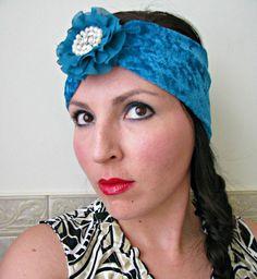 Turquoise Crushed Velvet Turban Headwrap Boho by FeathersandFancy, $28.00