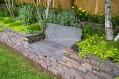 Etched artistic stone garden bench in raised bed stone wall fence birch trees Garden Border Stones, Stone Garden Bench, Stone Planters, Garden Borders, Stone Fence, Stone Flower Beds, Flower Bed Edging, Stone Raised Beds, Raised Garden Beds