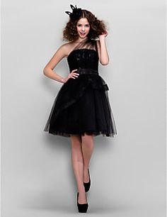 Cocktail Party Dress - Black Plus Sizes / Petite A-line / Princess One Shoulder Knee-length Tulle