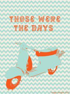 Those were the days.  #vespa #chevron #orange #aqua