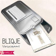 Verhuiskaart in blik! Bestel deze originele blikjes op: http://www.locomix.nl/consumenten/bliqje/verhuiskaarten/ #housewarming #verhuiskaart #invitation