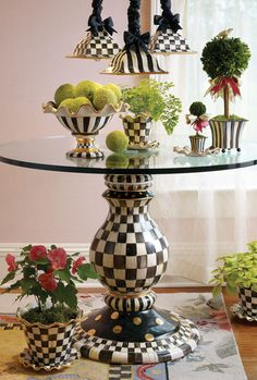 Most Popular Ideas MacKenzie Childs for Home Interior Design 39 Funky Furniture, Painted Furniture, Table Furniture, Round Glass Table Top, Mackenzie Childs Furniture, Pedestal Table Base, Mackenzie Childs Inspired, Mckenzie And Childs, Funky Home Decor