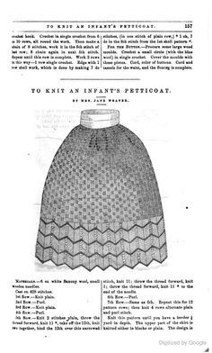 """1859 Peterson's. knitted """"Infant Petticoat."""" I include this here only because the border is a wider variation of the lace stitch in both the 1864 red-and-white petticoat and the extant red-and-buff petticoat in the Missouri History Museum. It is also interesting that they give you the choice of knitting the body plain or in a 4x4 knit-purl checkerboard. [jrb]"""
