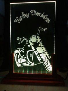 Lampara acrilico decorativo Harley Davidson