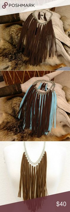 """Boho Leather Brown Fringe Necklace Earring Genuine suede leather Fringe necklace. 18"""" with 3"""" extender and Lobster Claw clasp. Suede fringe 9.5"""". Earrings length 4"""". Silvertone finish. Also available in Turquoise in a separate listing.  Beautiful Southwestern Western Cowgirl Boho Hippie Bohemian Price Firm Unless Bundled No Trades boutique Jewelry Necklaces"""