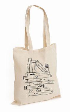 Sketch Cotton Tote Bag: Books