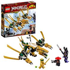 171 pieces – Ninja toy set for boys and girls aged and for fans and kids of all ages The LEGO NINJAGO Legacy Golden Dragon 70666 ninja battle action toy can be built together with all other original LEGO sets and LEGO bricks for creative building. Figurines D'action, Figurine Lego, Ninjago Dragon, Dragon Ninja, Lego Ninjago Cake, Lego Ninjago Minifigures, Ninjago Lego Sets, Lego City, Star Destroyer