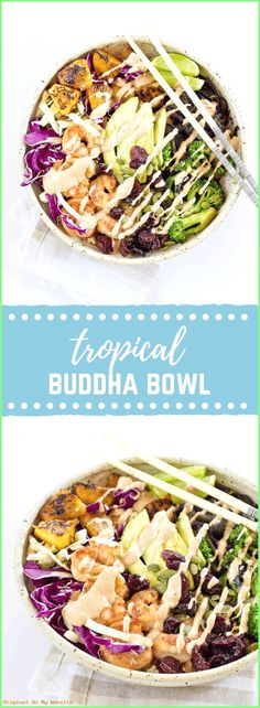 This Tropical Buddha Bowl is infused with island flavor from the Coconut Brown Rice to the Almond Butter Lime dressing. Perfectly grilled shrimp, pineapple, tart cherries, and a bowl full of veggies! It's great for meal prep. Vegetarian Main Dishes, Vegetarian Recipes, Healthy Recipes, Healthy Foods, Meat Recipes, Cooking Recipes, Lunch To Go, Buddha Bowl, Food Is Fuel