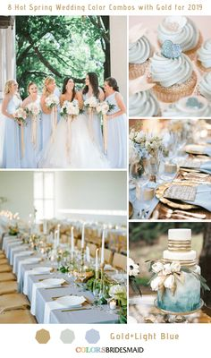 8 Hottest Spring Wedding Color Combos with Gold for 2019 Light Blue and Go. - - 8 Hottest Spring Wedding Color Combos with Gold for 2019 Light Blue and Go… 8 Hottest Spring Wedding Color Combos with Gold for 2019 Light Blue and Gold Blue Gold Wedding, Gold Wedding Theme, Wedding Themes, Wedding Ideas, Tiffany Wedding, Wedding Poses, Budget Wedding, Wedding Planner, Gold Wedding Colors