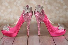 Pink Wedding Shoes: Platform Peep Toe Bridal Shoes with Lace Overlay Silver…