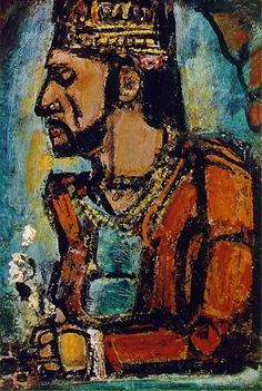Expressionism - Georges Roualt, 1937. This is considered the finest painting of his career.   Rouault's style is characterized by morbid pessimism in conjunction with sumptuous coloring and thickly encrusted brushwork that evolved through his study of stained glass techniques and his tutelage under the Symbolist painter Gustave Moreau.