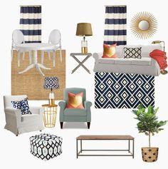 Navy blue and white design board (navy diamond rug)