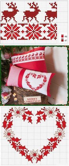 Рождественская вышивка на подушках. Схемы.
