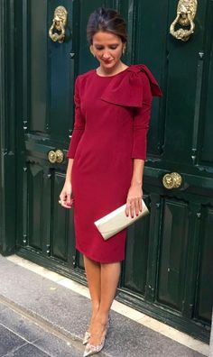 A Pencil dress below the knee. Three quarter sleeves, high round neck with a one side shoulder bow. Cream clutch handbag matching with the stiletto shoes. Next Dresses, Lovely Dresses, Stylish Dresses, Day Dresses, Evening Dresses, Casual Dresses, Short Dresses, Fashion Dresses, Dresses For Work