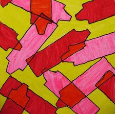 overlapping shape - students make stencil to trace - color in mixing colors where overlapping.